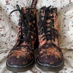 Black Victorian Flower Canvas Doc Martens